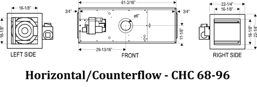Horizontal Conterflow Dimensions